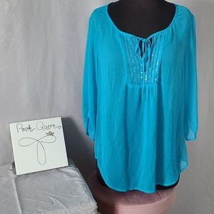 Express Blue Flowy Blouse with Sequins M Summer
